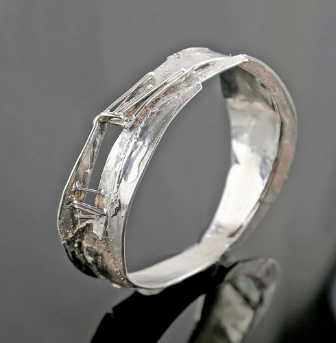 Brutalist Sterling Silver Bangle Bracelet - Studio Modernism