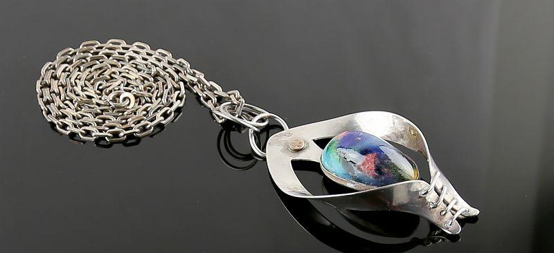 Peter Ein Hod Modernist Sterling and Ceramic Necklace - Israel