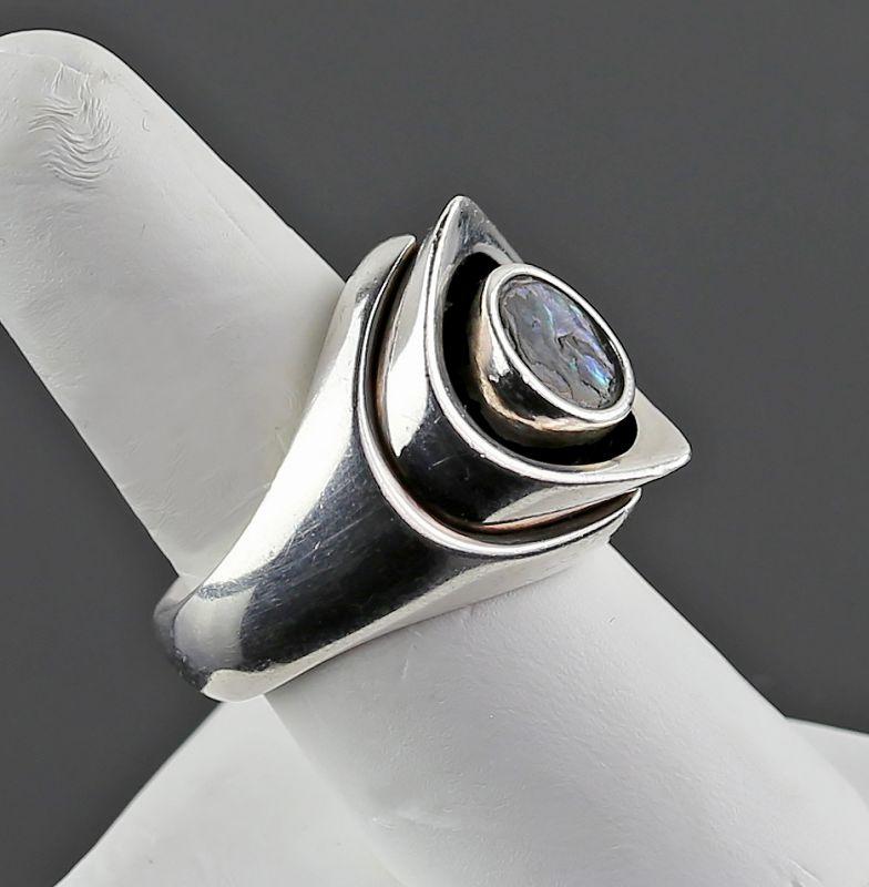 Arne Johansen Modernist Sterling/Nacre Ring Denmark Mid Century