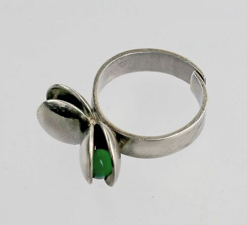 Elis Kauppi Sterling Modernist Ring Finland Mid 20th Century