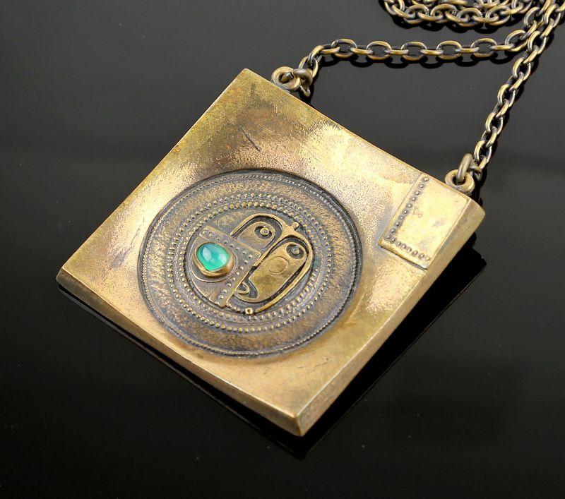 Jorma Laine Modernist Bronze Necklace Finland 1970