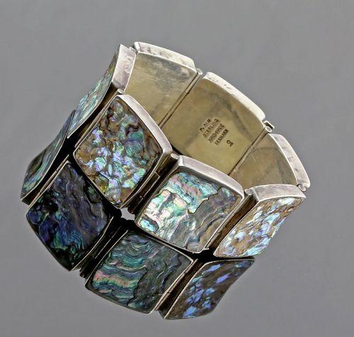 Palle Bisgaard Modernist Sterling and Nacre Bracelet Denmark 1960