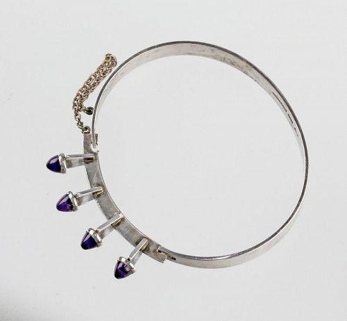 Kultaseppa Salovaara Modernist Sterling and Amethyst Bracelet Finland