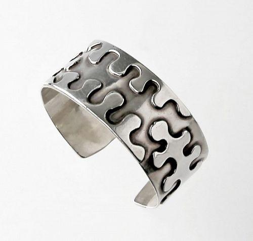 Ed Levin Modernist Sterling Puzzle Bracelet 1950s