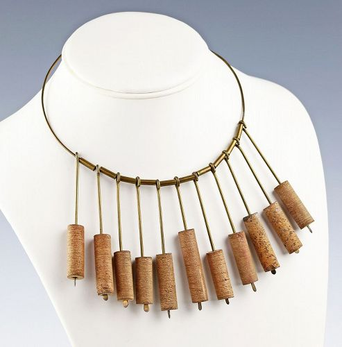 Betty Cooke Modernist Brass and Ceramic Necklace Rare Early Example