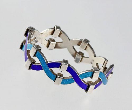 Antonio Fallaci Modernist 900 Silver and Enamel Bracelet Italy