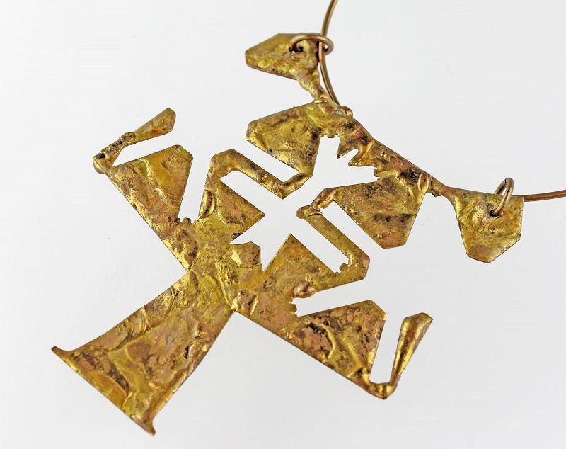 Monumental Brutalist Brass Hand Crafted Necklace Modernist Era