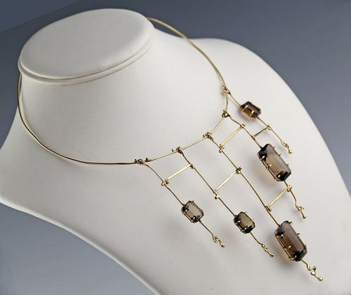 Modernist 14K Gold and Smokey Quartz Necklace