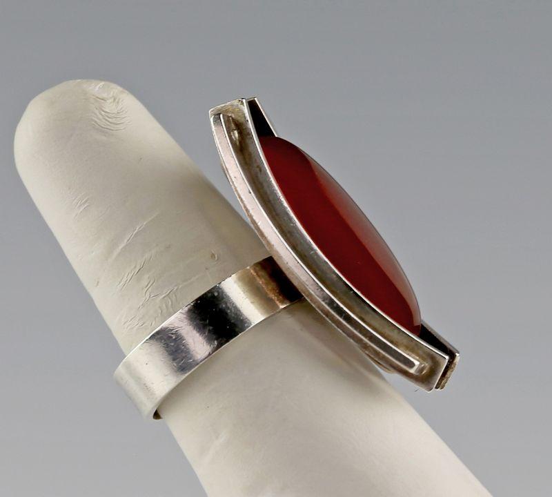 Elis Kauppi Modernist Sterling and Carnelian Ring Finland