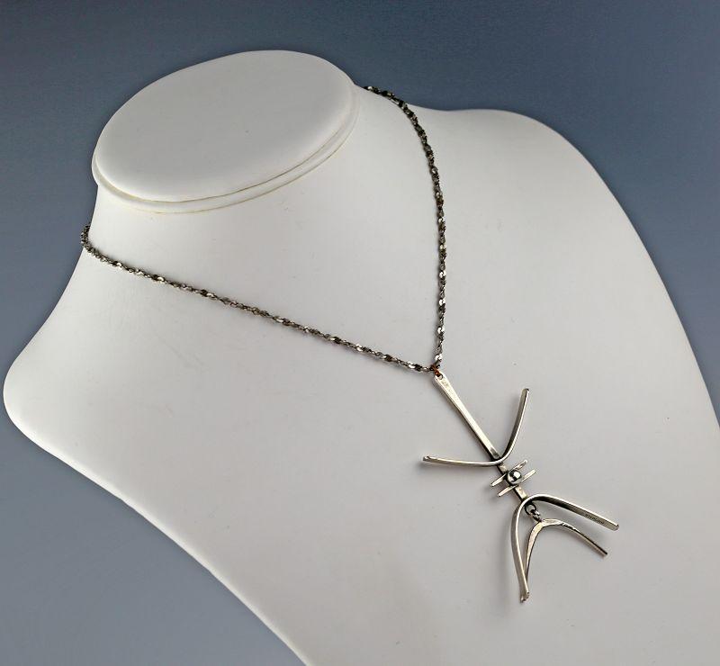 Paul Miller Modernist Kinetic Sterling Pendant Necklace 1950