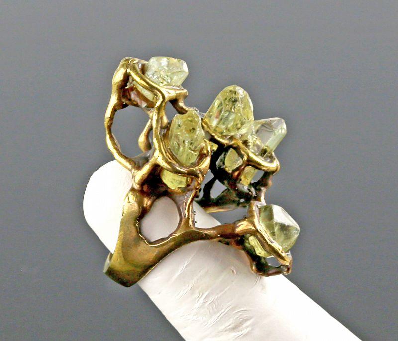 Brutalist Brass with Citrine Organic Ring 1970 Modernist
