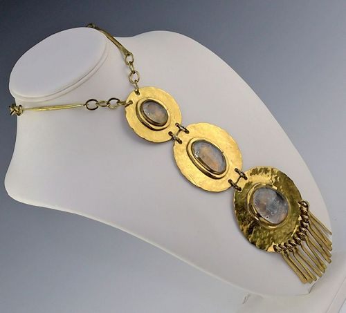 RAFAEL ALFANDARY Modernist Brass and Glass Necklace Canada