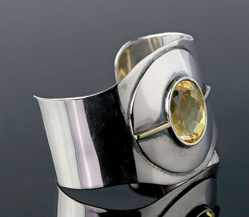 Modernist Sterling Silver, 14K Gold and Citrine Cuff Bracelet