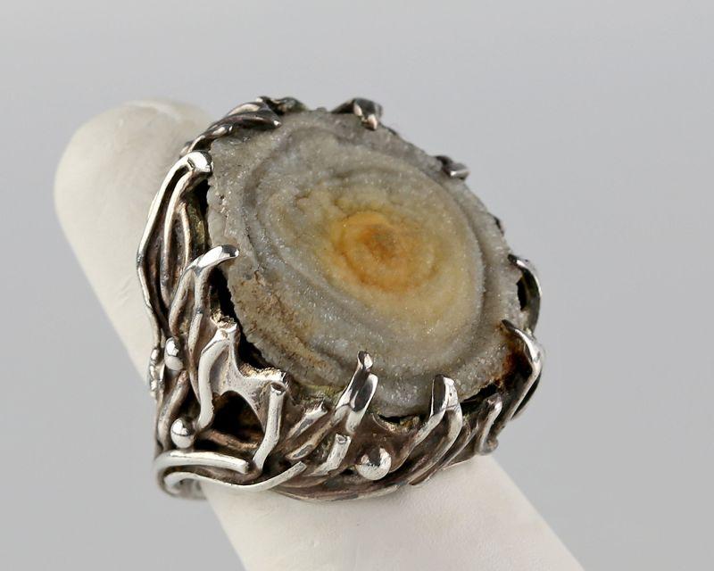 Algeo Organic Modernist Sterling and Druzy Quartz Ring