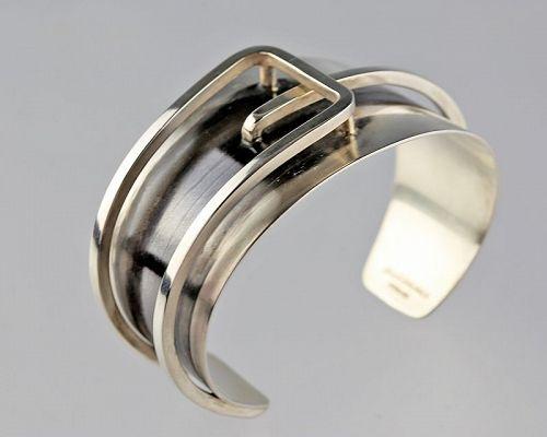Jules Brenner Modernist Sterling Buckle Cuff Bracelet 1950s