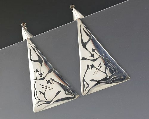 Huge ANTONIO PINEDA Sterling Earrings Mexico Taxco Mid 20th Century