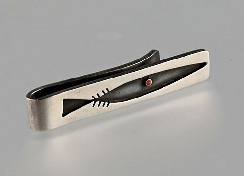 Ed Wiener Modernist Sterling Tie Bar Fish 1950s MCM