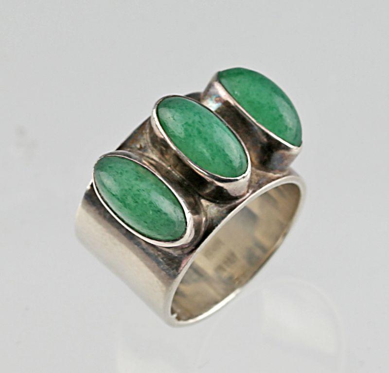 Lisbeth Nordskov Modernist Sterling and Stone Ring Denmark