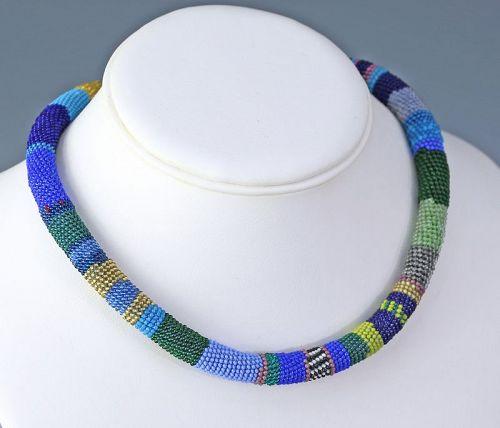 Wiener Werkstatte Early Modernist Beaded Necklace 1910 - 1920 Austria