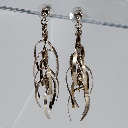 Mary Ann Scherr Modernist Kinetic Sterling Earrings