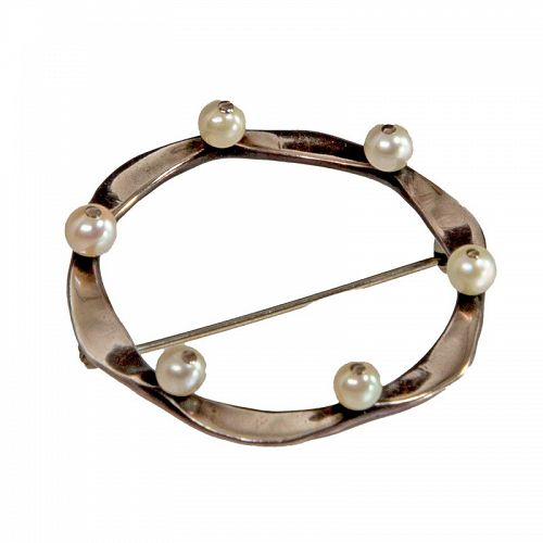 Ed Levin Modernist Sterling and Pearl Brooch 1950