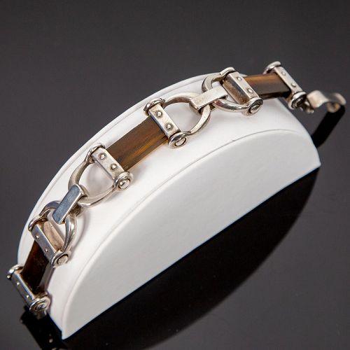 Vintage Sterling and Resin Horse Bit Type Bracelet