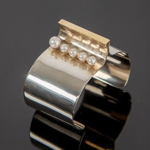 Betsy Fuller Post Modernist Sterling and 18k Gold Bracelet