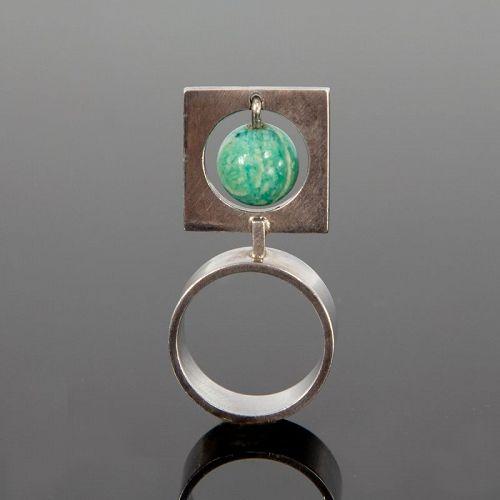 Hans Hansen Modernist Sterling and Amazonite Modernist Ring Denmark