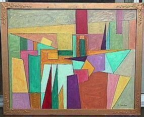 Joseph Meierhans Bucks County, Pa.- Modernist Oil/Board