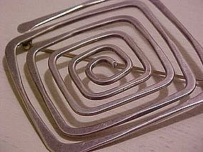 Ed Wiener Modernist Large Sterling Spiral Brooch