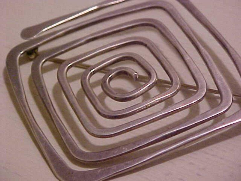 Ed Wiener Modernist Large Sterling Spiral Brooch