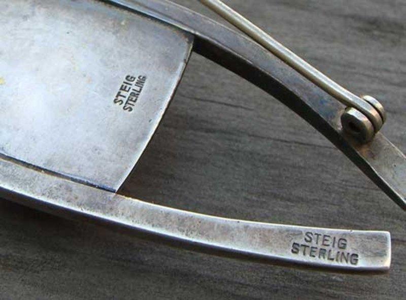Henry Steig Large Sterling Silver Modernist Brooch