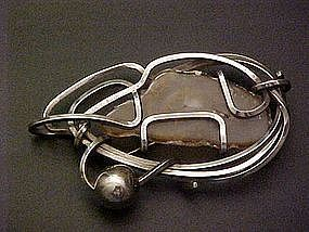 Rebajes Modernist Sterling Abstract Pin w/Stone - Large