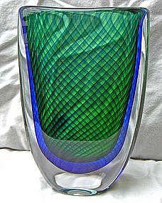 VICKE LINDSTRAND Kosta Sweden Large Glass Vase