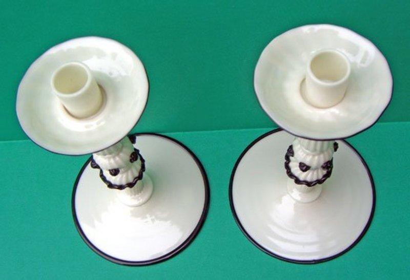 Black and White Murano Art Glass Candleholders