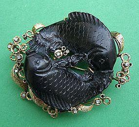 Koi Fish Brooch - Carved Black Jade 14k  & Diamonds