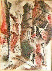 Harry Levit Modernist Parisian Street Scene PAFA -1933