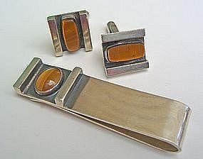 Jules Brenner Modernist Jewelry Tie Bar/Cuff Links