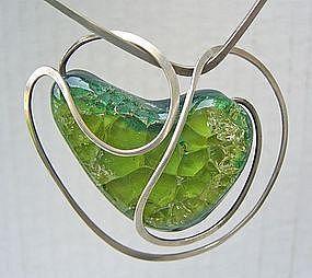 Elsa Freund Modernist Necklace Silver & Glazed Ceramic