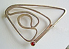 Ed Levin Modernist Sterling Brooch with Stone