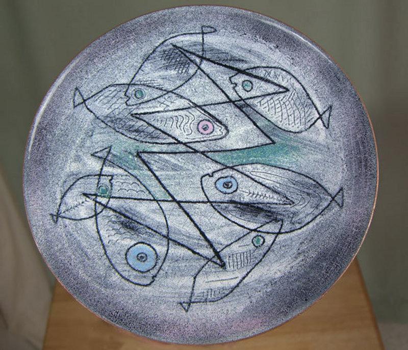 Woolley Modernist Enamel Footed Dish