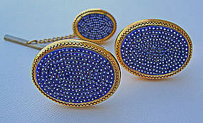 Art Deco Period Modernist Mosaic Cuff Links & Tie Tack