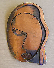 Rebajes Modernist Jewelry Copper Veronica Lake Brooch
