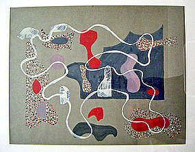 Eve Peri Modernist Abstract Gouache