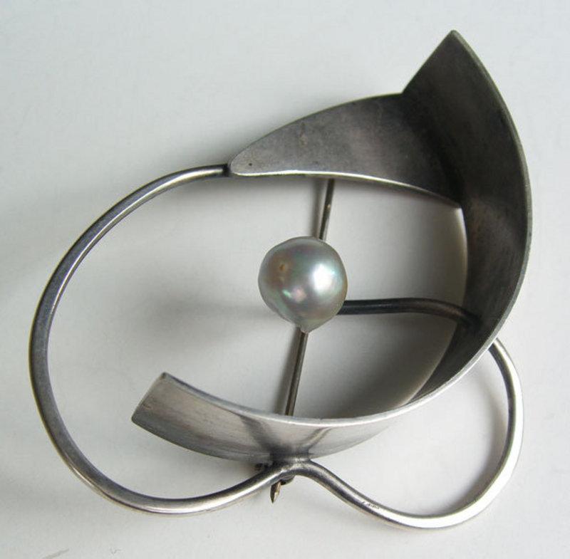 Bill Tendler Modernist Sterling Mid Century Pin Brooch