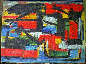 Lucille Ireland Modernist Oil On Canvas