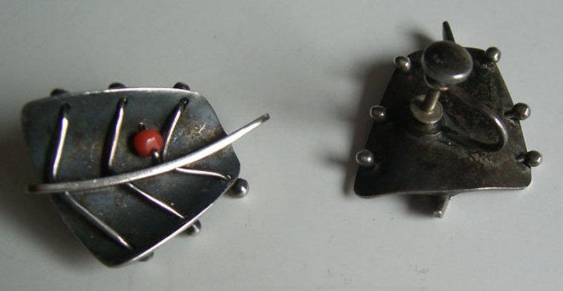 Ed Wiener Modernist Sterling Jewelry Earrings w/Coral
