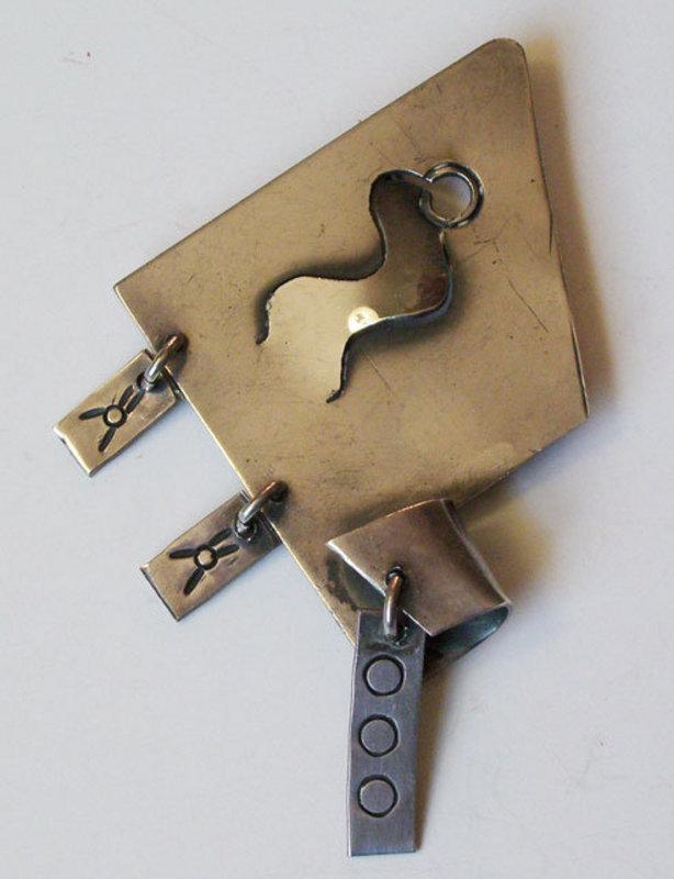 Sam Kramer American Modernist Sterling Kinetic Pin