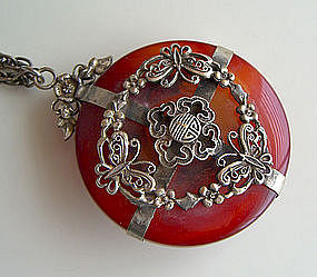 Vintage Chinese Carnelian and Silver Pendant