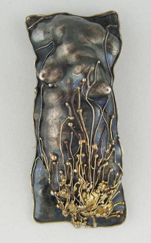 Marci Zelmanoff Modernist Jewelry Sterling Torso Pin
